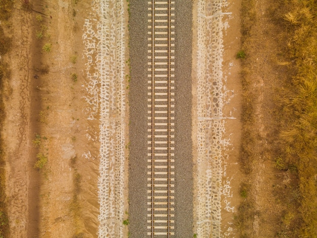 High angle shot of the railway in the middle of the desert captured in nairobi, kenya