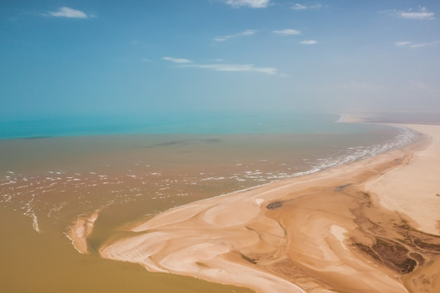 High angle shot of the sandy hills of the delta of parnaiba in northern brazil