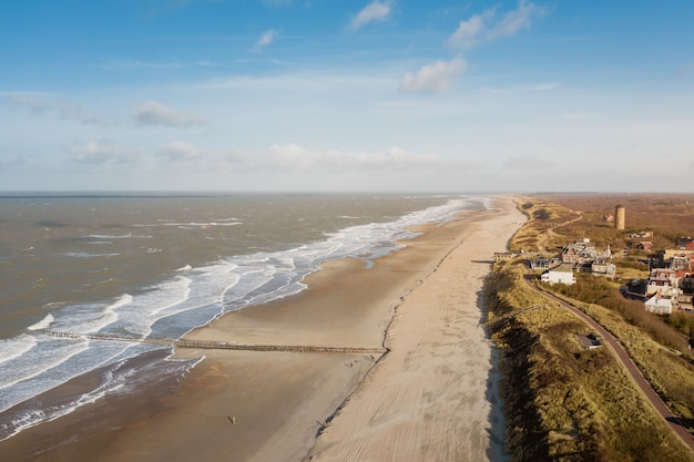High angle shot of the seaside at domburg, the netherlands