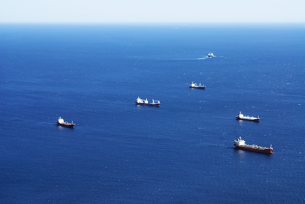 High angle shot of ships sailing in the sea in gibraltar