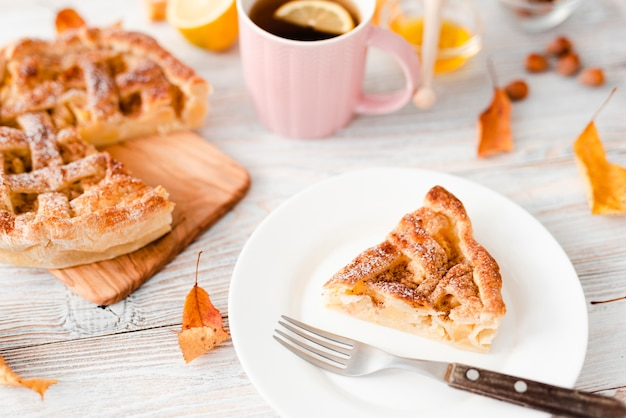 High angle of slice of pie