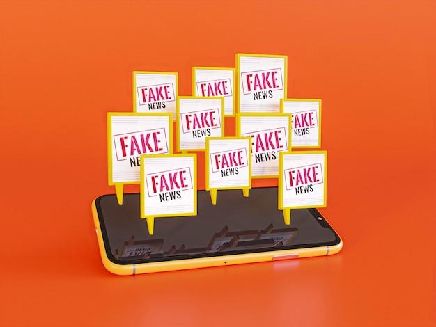 High angle of smartphone with fake news