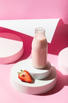 High angle smoothie with strawberries