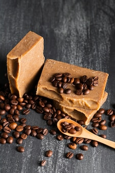 High angle soap made of coffee beans