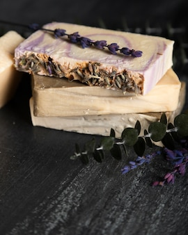 High angle soap made of lavender