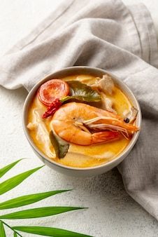 High angle soup in bowl with shrimp