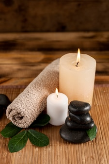 High angle spa concept with candle