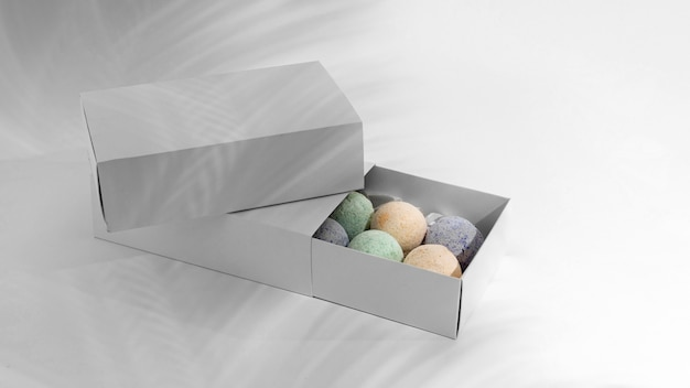 High angle spa therapy assortment with bath bombs