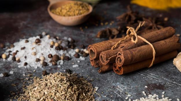High angle spices and cinnamon sticks