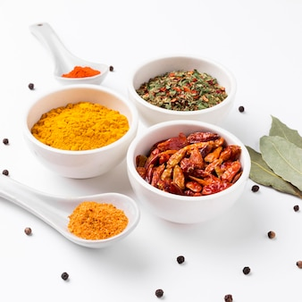 High angle spices and herbs arrangement