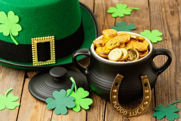 High angle st patrick items on wooden table