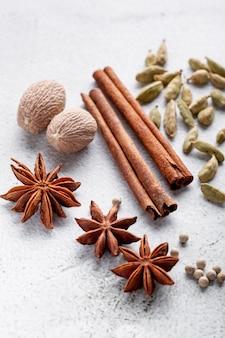 High angle of star anise and cinnamon sticks and nutmeg