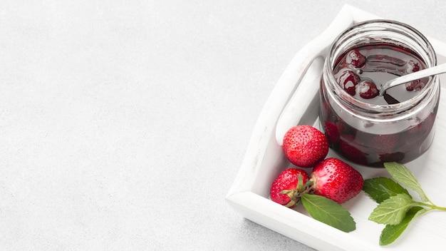 High angle strawberry jam frame
