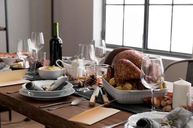 High angle table with food for thanksgiving day