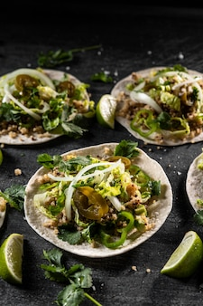 High angle tacos and lime arrangement