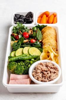 High angle tasty healthy food arrangement