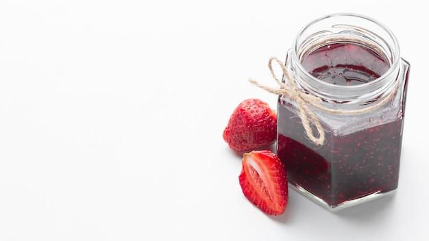 High angle tasty jam in jar