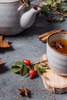 High angle tea in cup with star anise and cinnamon