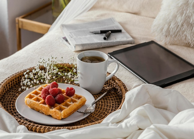 High angle tea and waffle arrangement