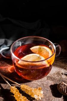 High angle tea with lemon slices