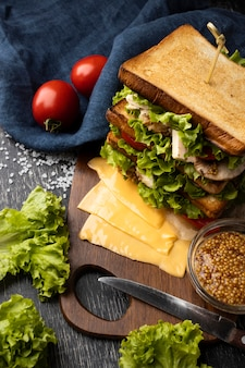 High angle of toast sandwich with tomatoes and salad