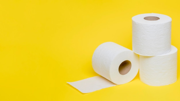 High angle of toilet paper rolls with copy space