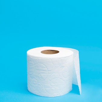High angle of toilet tissue paper with copy space