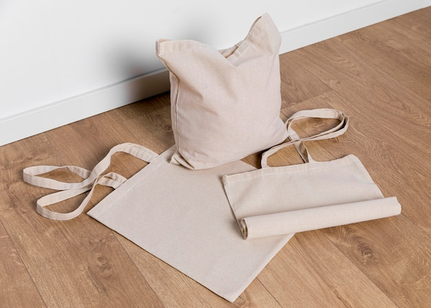 High angle tote bags on floor