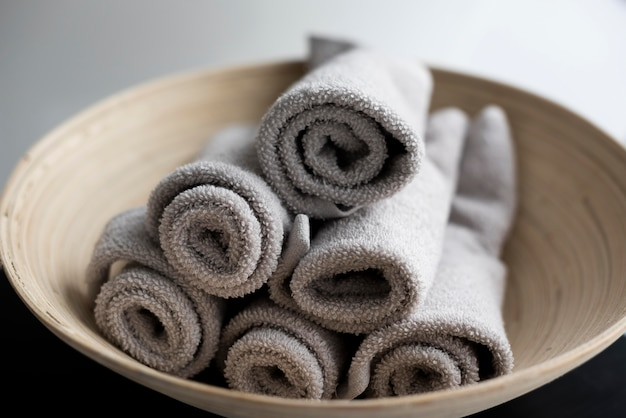 High angle towels in bowl