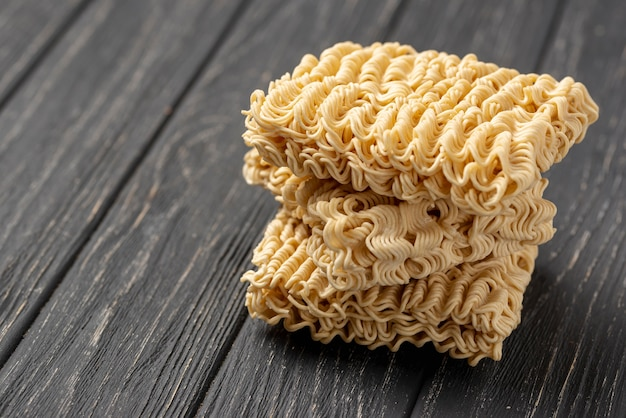 High angle tower of uncooked noodles