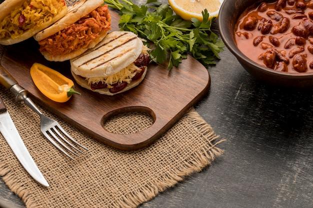 High angle traditional food arrangement