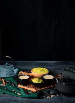 High angle tray with asian tea matcha