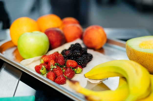 High angle of tray with fresh fruit