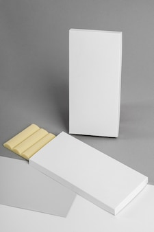 High angle of two white chocolate tablets packaging