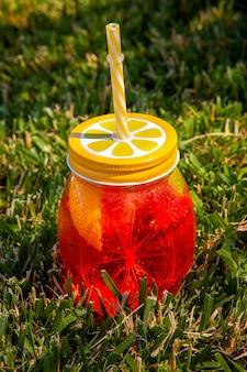 ハイアングルは、芝生の上のフルーツジュースのガラスを表示します。垂直