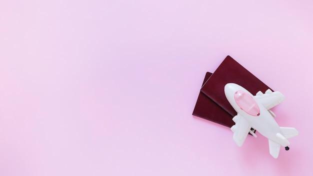 Vista dell'angolo alto dell'aeroplano e del passaporto sulla superficie di rosa