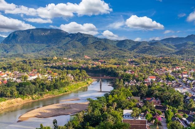 High angle view beautiful landscape in luang prabang, laos. Premium Photo