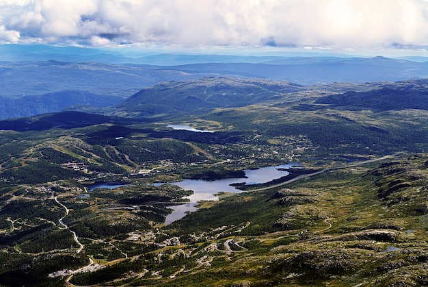 High angle view of a beautiful landscape in tuddal gaustatoppen, norway