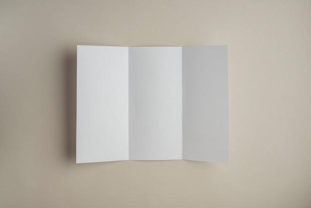 Punto di vista dell'angolo alto di libro bianco in bianco su fondo colorato
