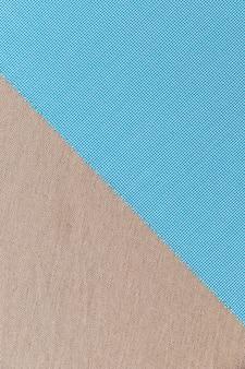 Veduta dall'alto del materiale del tessuto blu su tessuto normale
