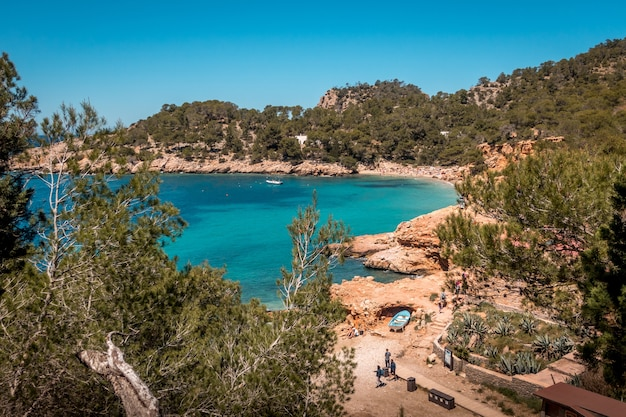 High angle view of a blue lagoon surrounded by trees in ibiza