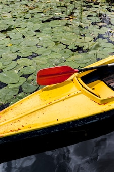 High angle view of canoe with red paddle oar floating on lake with lily pads