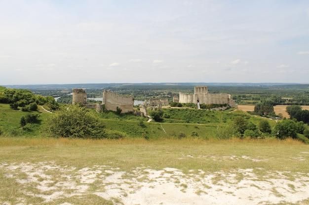 High angle view of the chateau gaillard in france
