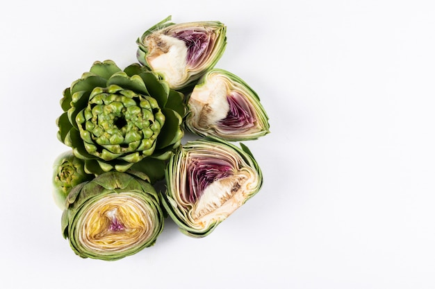 High angle view chopped artichokes . horizontal space for text
