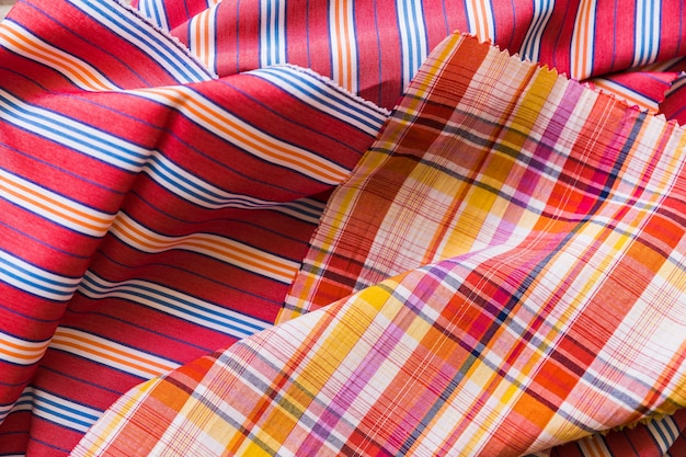 High angle view of colorful cotton textile