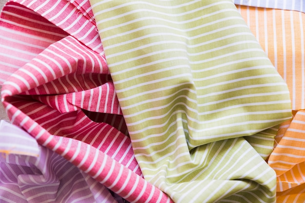 High angle view of colorful striped pattern textile