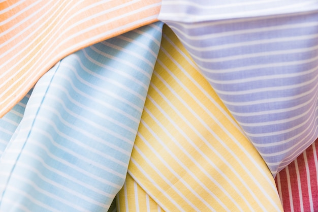High angle view of colorful stripes pattern fabric