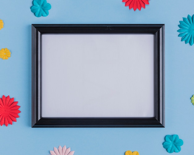 High angle view of empty white frame with black wooden border