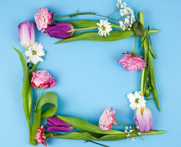 High angle view of flower frame over blue background