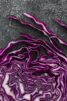 High angle view of fresh purple cabbage